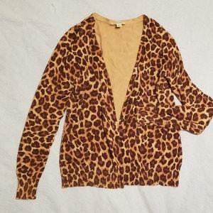 St. John's Bay womens cheetah print cardigan